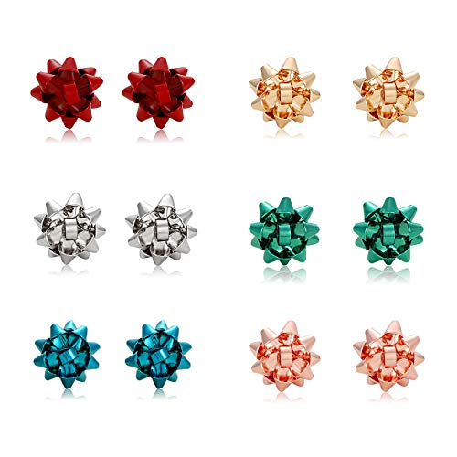 XOCARTIGE 6Pairs Bow Earrings Studs for Women Girls(Color2)