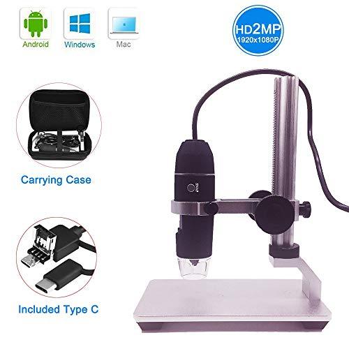 Jiusion HD 2MP USB Digitales Mikroskop 50-1000X Tragbare Vergrößerung Endoskop Kamera mit 8 LEDs Aluminiumlegierung Stabiler Ständer für OTG Android Mac Windows 7 8 10 Linux