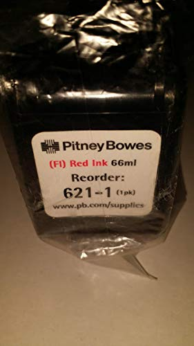 Pitney Bowes Postage Meter DM500, DM525, DM550, DM575. Replaces 621-1 (Formerly 620-1) - Fluorescent Red Postage Meter Ink Cartridge. This Product is 100% New.