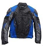 SM Sport Chaqueta de Moto para Hombre Textil para Invierno y Verano con Protecciones en Espalda y Codos, Forro Extraíble Lavable con Bolsillos con Joroba (XL, Azul)