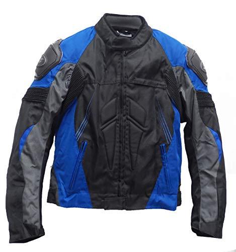 SM Sport Chaqueta de Moto para Hombre Textil para Invierno y Verano con Protecciones en Espalda y Codos, Forro Extraíble Lavable con Bolsillos con Joroba (L, Azul)