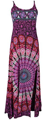 Guru-Shop Sommerkleid, Boho Maxikleid mit Schlitz, Damen, Flieder Mandala, Synthetisch, Size:38, Lange & Midi-Kleider Alternative Bekleidung