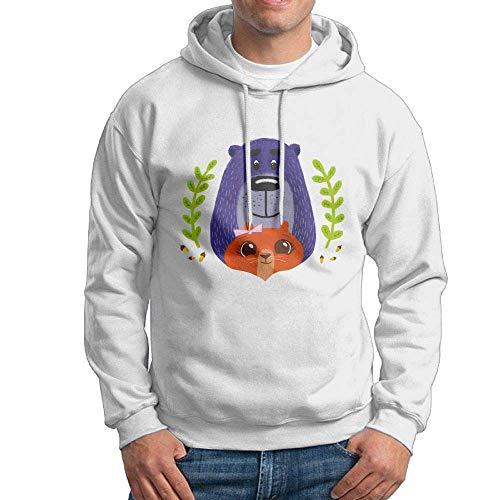 MrRui Kapuzen-Sweatshirt für Herren Täglich süßer Bär und Eichhörnchen Pullover Hoodie Gr. X-Large, weiß