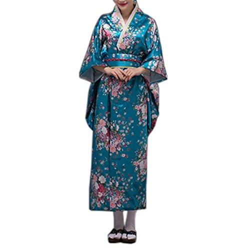 Fancy Pumpkin [Sakura] Albornoz Kimono Yukata de Estilo japonés para Cosplay, Azul