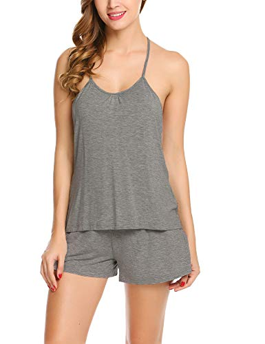 Avidlove Women's Short PJ Camisole Set Tank Bottom Cotton Pajama Sexy Nightwear Shorts Gray Medium