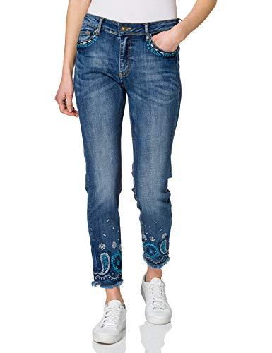 Desigual Denim_Ankle Pantalones Informales, Azul, W25 para Mujer