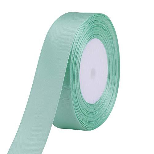 WedDecor 25m dubbelzijdig satijnen lint rol - rol van polyester stof voor naaien, kunst en ambachten, strikken, jurken, geschenkverpakking - decoratie voor bruiloft, verjaardag, kleding 25mm Mint Groen