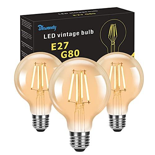 Lampadine Vintage Edison 4W, Lampadina LED E27 Luce Calda 2700K 400LM, G80 Edison Lampadina Retro a Filamento Illuminazione Decorativao per Casa Ristorante Bar, 3 pezzi