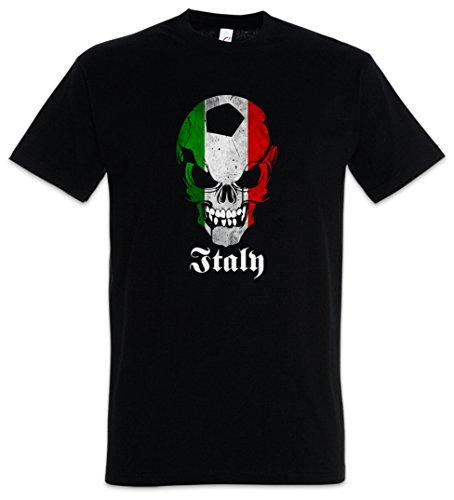 Urban Backwoods Black Classic Italy Football Soccer Skull Flag Hommes T-Shirt Noir Taille S