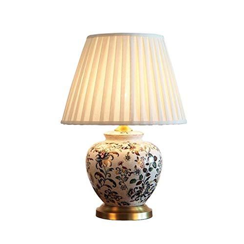 STERB Modern Style Cerámica Luz Cuerpo de Tela Pantalla E27 Interruptor de botón lámpara de Mesa lámpara de Mesa Decorada Dormitorio