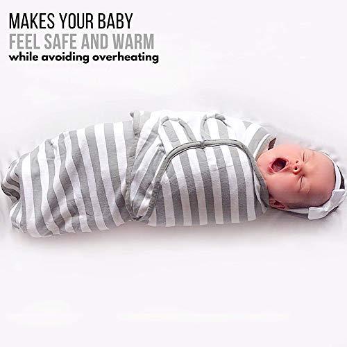 Swaddle Blanket, Baby Swaddle Wrap for Infant (0-3 Month), Adjustable Newborn Swaddle Set, 3-Pack Soft Organic Cotton, Grey