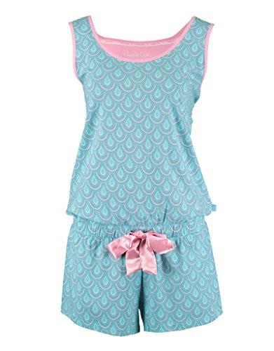 Charlie Choe dames pyjama jumpsuit turquoise blauw roze twist it