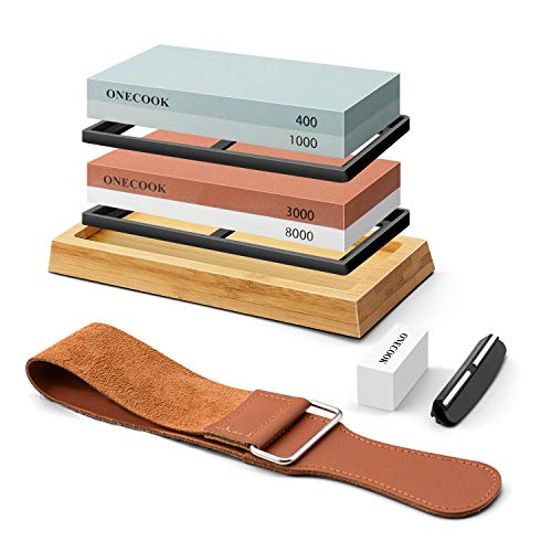 ONECOOK Knife Sharpening Stone Set 400/1000 3000/8000, Complete 4 Side Grit Whetstone Sharpening, Non-slip Bamboo Base, Angle Guide, Coarse Flattening Stone and Leather Strop