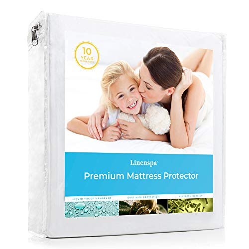 Linenspa Premium Smooth Fabric Mattress Protector-100% Waterproof-Hypoallergenic-Top Protection Only-Vinyl Free Protector, King