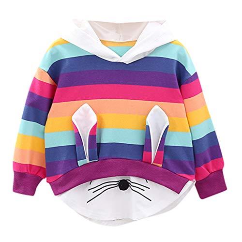 Livoral Madchen Kleider Sommer Kleinkind Kind Baby Mädchen gestreiften Regenbogen Cartoon Kapuzen Sweatshirt Jacke Top(Mehrfarbig,90)