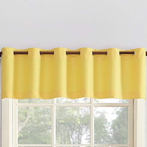 "No. 918 48404 Montego Grommet Textured Kitchen Curtain Valance 56"" x 14"", Yellow"