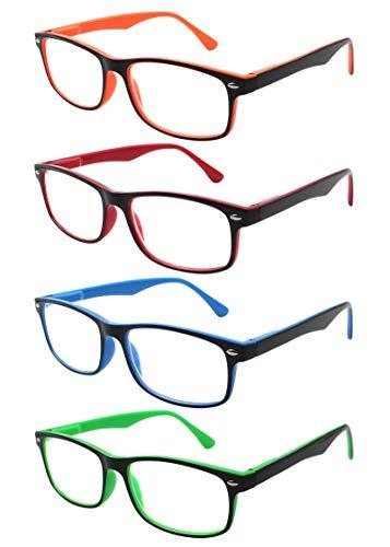 TBOC Lesebrille Lesehilfe für Herren und Damen - [Pack 4 Einheiten] Dioptrien +2.50 [Orange + Rot + Blau + Grün] Fassung mit Stärke PC Handy Frauen Männer Senioren für Alterssichtigkeit Presbyopie