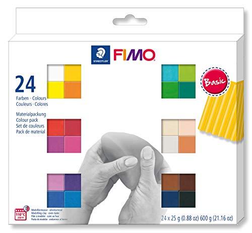 FIMO soft ofenhärtende Modelliermasse. Kartonetui mit 24 sortierten Basic-Farben, 24 Halbblöcke à 25 g