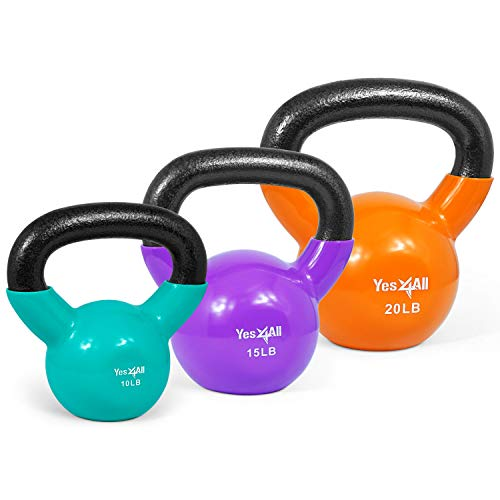 Yes4All Combo Special: Vinyl Coated Kettlebell Weight Sets – Weight Available: 5, 10, 15, 20, 25, 30 lbs (U - Multicolor 10-20lbs)