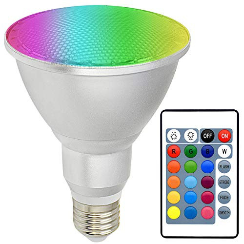 Dimmable Color Changing Spotlight 28W E26, Par30 LED Light Bulb, Kuniwa RGB+Daylight (5000K) Waterproof Ip65 Flood Light with Remote Control Outdoor for Lawn Holiday Indoor Home Party Decor