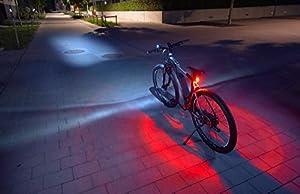 FISCHER LED Beleuchtungsset, mit 360° Bodenleuchte für mehr Sichtbarkeit und Schutz, aufladbare Akkus mit USB