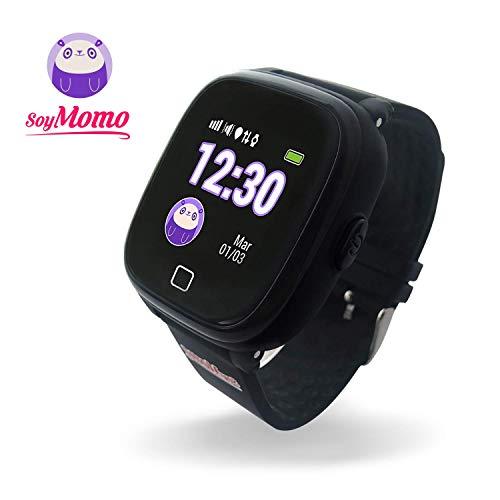 SoyMomo H2O Intelligente Uhr für Kinder mit GPS und SOS-Knopf, Handy für Kinder mit SIM-Kartenslot um Anrufe und Nachrichten zu ermöglichen, Smartwatch für Kinder mit GPS-Tracker Wasserdicht (Schwarz)