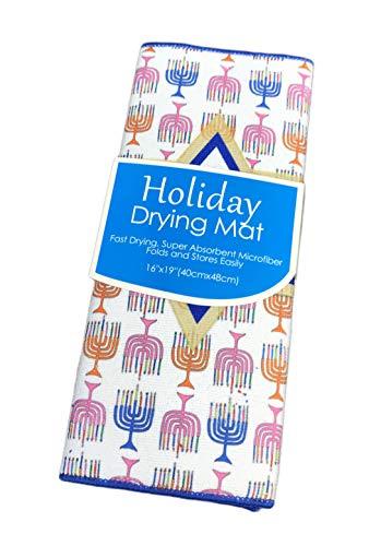 Happy Hanukkah Colorful Menorahs & Star Holiday Chanukah Dish Drying Mat 16' x 19'