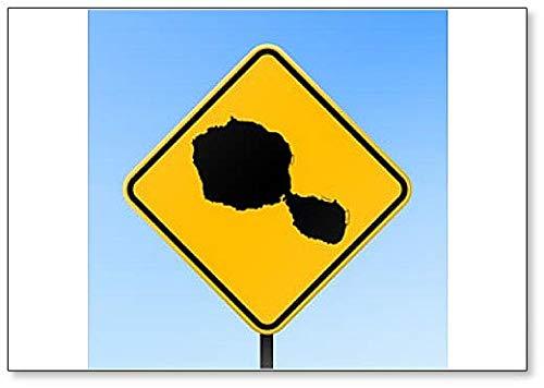 Tahiti Map on Road Sign Illustration Fridge Magnet