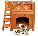 SWEET DESIGN Caseta de madera para cachorros de mascotas, gatos, perros, habitación de madera, jardín para interiores...