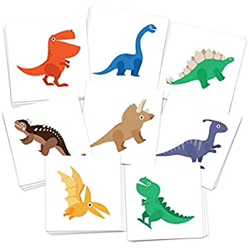 FashionTats Dinosaur Temporary Tattoos | Pack of 24 Tattoos | Kids Party Supplies Decorations & Favors | Skin Safe | MADE IN THE USA