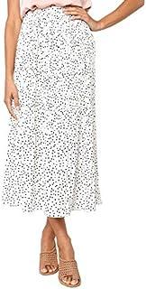 PRETTYGARDEN Women's Fashion High Elastic Waist Polka Dot Printed Pleated Midi Vintage Skirts with Pockets