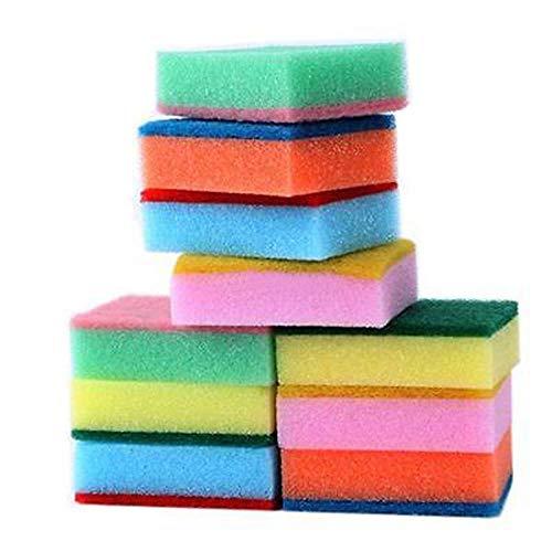 LLine 10PCS Huishoudelijke afwasSponzen UniverselesponsborstelsetKeuken schoon gereedschap schrobben schuursponsje,kleur