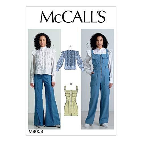 McCall's Patterns McCall's M8008E5 Women's Flared Shoulder Blouse and Overall Romper Sewing Patterns, Sizes 14-22 Schnittmuster, Papier, weiß, Verschiedene Größen