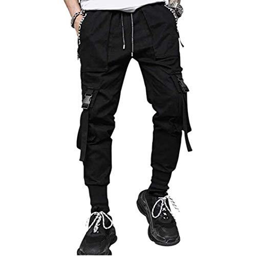 Odoukey Hombres Pantalones Casual Pantalones Moda Harem de Carga El Traje de Hiphop Punk Pantalones del Basculador Deporte para Hombres Niños Negro S