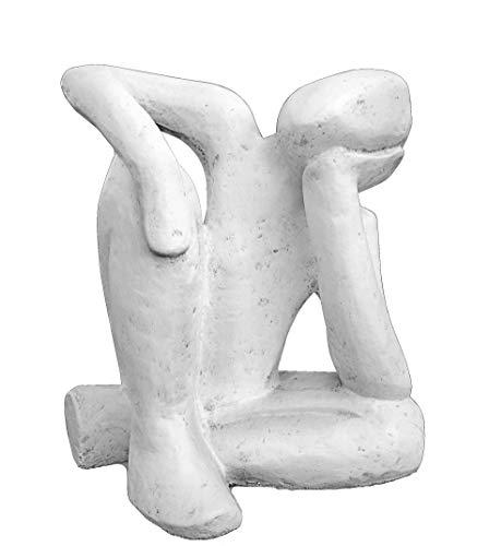 Tiefes Kunsthandwerk Steinfigur Träumer in Antik-Weiss, abstrakte Deko-Figur für Haus und Garten, Moderne Statue als Garten-Figur