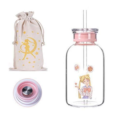 Double Nice Taza Botella de Agua de Dibujos Animados creativos de 450 ml / 700ml con Tapa de Paja Kawaii Hermosa niña Moda Vidrio Vidrio Taza de Agua con Bolsa de Almacenamiento Tazas Cafe