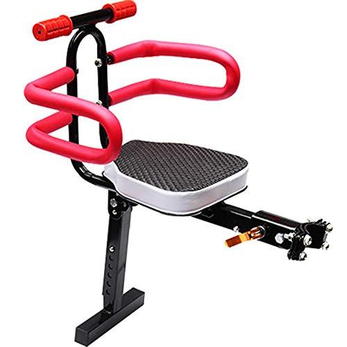 DFBGL Silla Delantera para Bicicleta eléctrica para niños, portabebés con cojín, Seguridad Deportiva, Estable con reposabrazos para niños de 2 a 7 años, fácil de Instalar, H