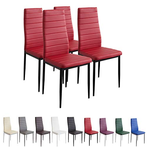 Albatros 2704 Milano Set de 4 sillas de Comedor, Rojo