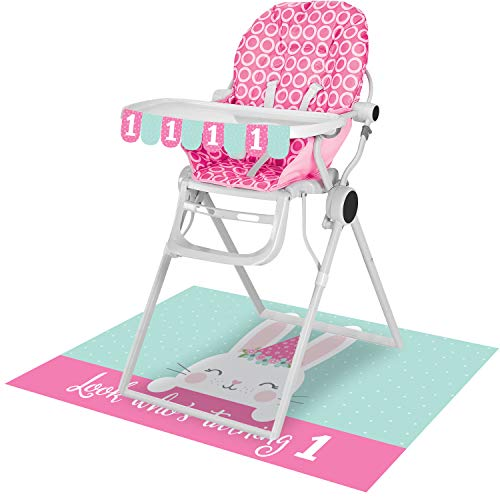 Creative Converting Party Supplies, Bunny Party 1St Birthday High Chair Kit, Kit, Multicolor, 26 X 3.5