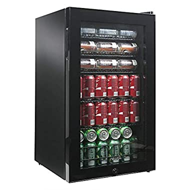 NewAir Beverage Cooler and Refrigerator, Black Stainless Steel Mini Fridge with Glass Door, Perfect for Soda Beer or Wine, 126-Can Capacity, AB-1200B