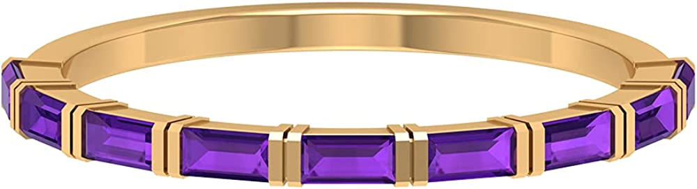 1.50 CT Baguette Cut Amethyst Semi Eternity Ring (AAA Quality), 14K Solid Gold