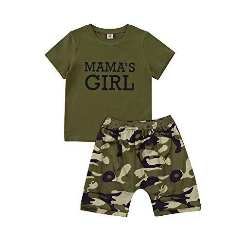 Mama's Boy Mama's Girl 2 Piezas Set Top Camiseta Unisex Niñas pequeñas 2-7 años Mangas Cortas Pantalones Cortos con Estampado de Color sólido Moda de Verano (Verde2, 5-6 años)