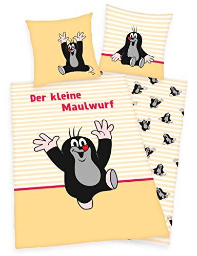 Klaus Herding GmbH Der kleine Maulwurf Bettwäsche 80x80 + 135x200cm 100% Baumwolle mit Reißverschluss