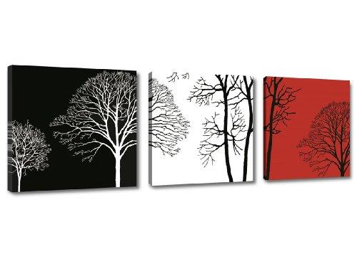Bild & Kunstdruck der deutschen Marke Visario 150 x 50 cm 4208 Bilder auf Leinwand Kunstdrucke Bäume schwarz weiß rot Wandbild
