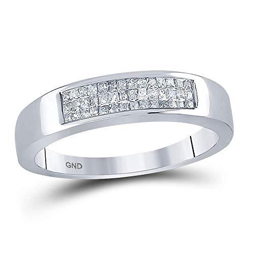 DazzlingRock Collection Alianza de boda invisible de oro blanco de 14 quilates con diamante blanco de corte princesa de 0,25 quilates (quilates)