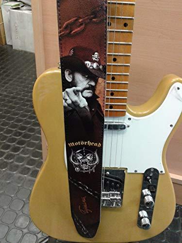Correa para guitarra de Motorhead, correa de bajo, tamaño ajustable, cinturón de cuero reciclado ecológico, unisex Lemmy Kilmister