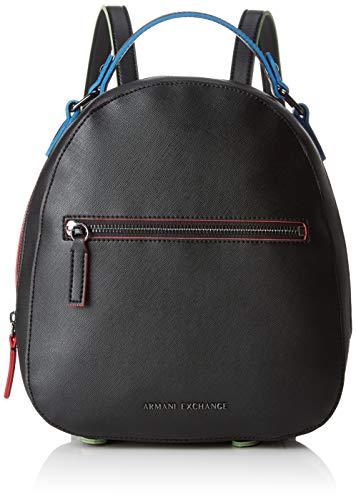 Armani Exchange - Zip Backpack, Mochilas Mujer, Negro (Black), 26.5x8.3000000000000007x24 cm (B...