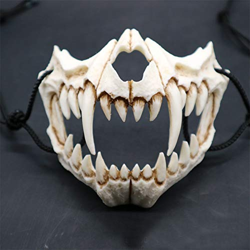RONSHIN Mask for Halloween, Japanese Gods Style Deluxe Resin Ninja Mask Prom Performance Art Mask Tiger mouth