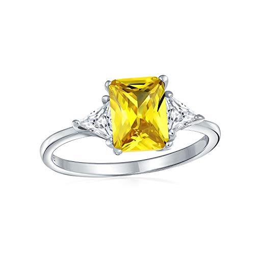 Bling Jewelry 3Ct Kanarischen Gelbes Quadrat Zirkonia Princess Cut Billionen Seite Steine AAA CZ Verlobungsring 925 Sterling Silber