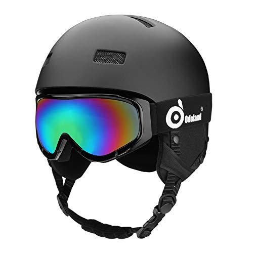 Odoland Casco Sci con Occhiali, Casco da Sci Nero Uomo Bambini, Casco Snowboard Visiera, Occhiali da Sci UV 400 Proteczione e Antivento, Casco e Occhiali da Neve per Sport Invernali